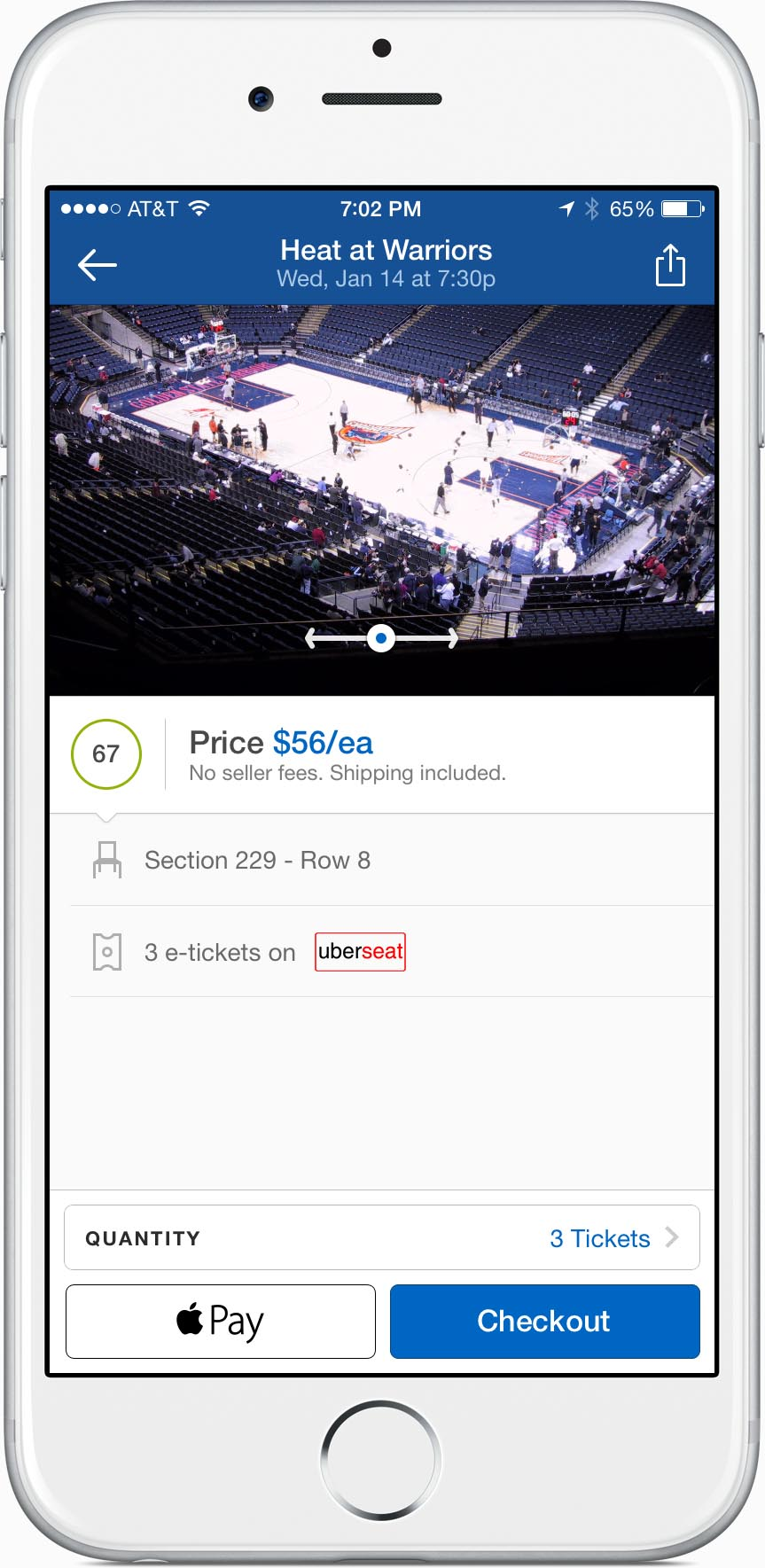 SeatGeek Checkout with Apple Pay on iOS